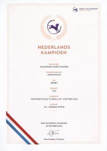 Certificaat Nederlands Kampioen